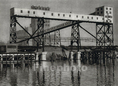 1926 HOUSTON TEXAS Industrial Waterfront Elevators Photography Art By E.O. HOPPE