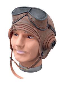 BIGGLES-HELMET-STEAMPUNK-RUBBER-HAT-GOGGLES-PILOT-AVIATOR-FANCY-DRESS-ACCESSORY