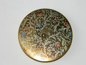 Vintage British Gold Tone Floral Enamel Compact Made in England