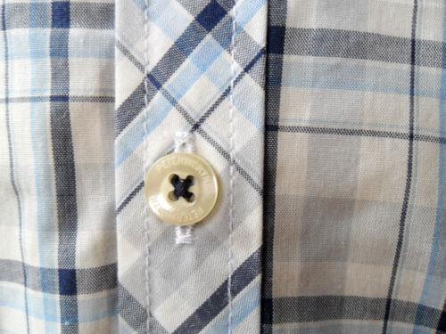 Peter Werth homme boutonnée à Manches Courtes Col Chemise à Carreaux Coton Rose Grande Taille