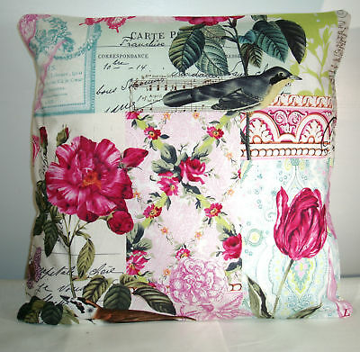 "NEW PINK BIRDS/SHABBY CHIC  CUSHION COVER 16""x16"""