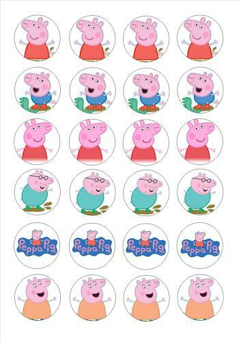 24 Edible cake toppers decorations Peppa Pig Family