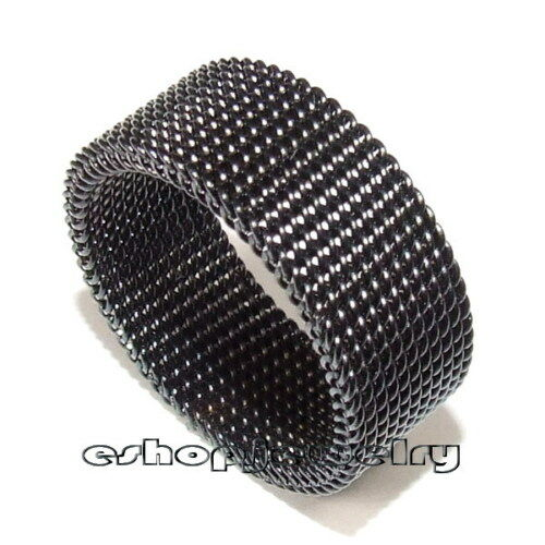 Mens 8mm Black Stainless Steel Mesh Link Chain Mail Ring Sz5-13