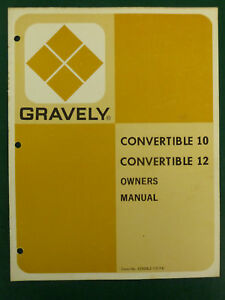 gravely convertible 10   12 tractor owners manual ebay