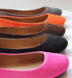 Women-Faux-Suede-Leather-Ballet-Flat-Round-Toe-Low-Shoe