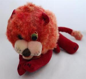 RARE 1966 A.D. Sutton & Sons Stuffed Reclining Burgundy Lion #178 Made in Japan