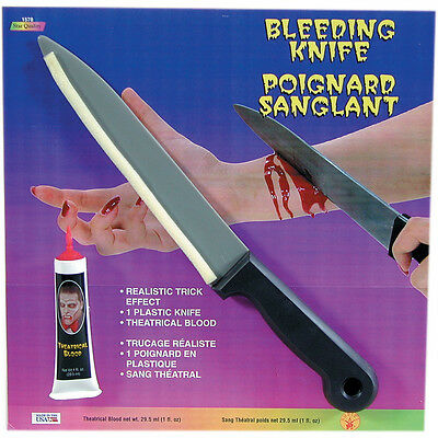 FAKE BLEEDING KNIFE BLOOD STAGE HALLOWEEN FX SPECIAL EFFECT BUTCHER WOUND CUT