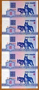 Lot-Belarus-5-x-5-Rubles-1992-P-4-UNC-Wolves
