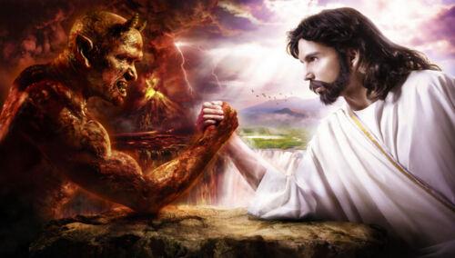 Jesus Vs Devil Satan XXL 1 Meter Wide Glossy 1 Piece Poster Art Print!