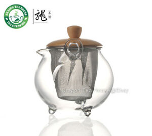 Clear-Glass-Wood-Lid-Tea-Pot-With-Filter-250ml-FH-208