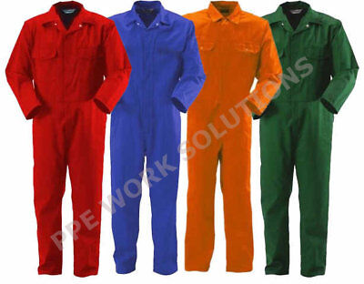 7oz COVERALLS OVERALLS BOILERSUIT GREEN ORANGE RED BLUE