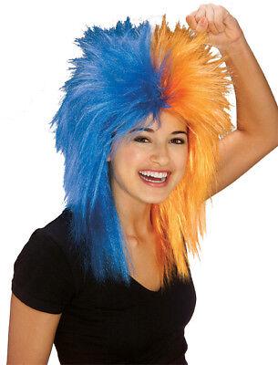 Florida Gators Blue & Orange College Football Sports Fan Wig Costume Accessory