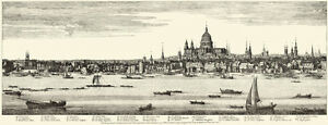 Old-London-Panorama-Print-1749-Fleet-Ditch-to-St-Michael-039-s-Bassingshaw