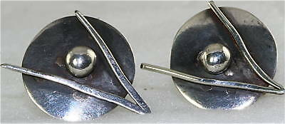 VINTAGE MID CENTURY MODERNIST STERLING SILVER EARRINGS