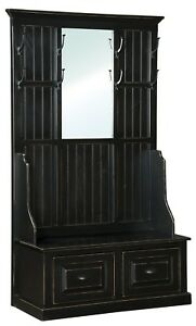 Amish Hall Tree With Storage Bench Entryway Coat Trees Ebay