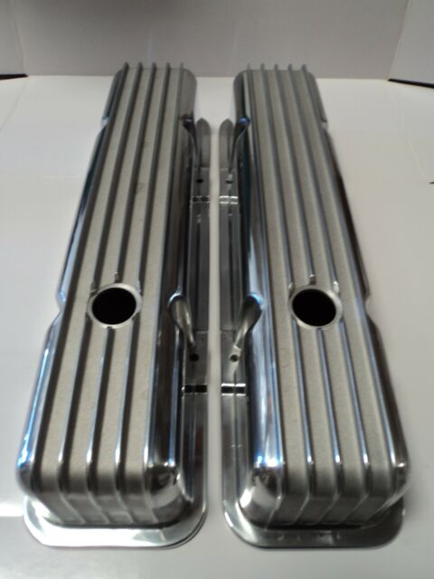SBC Finned Polished Aluminum Tall Valve Covers Fits SB Chevy 283 305 327 350 383
