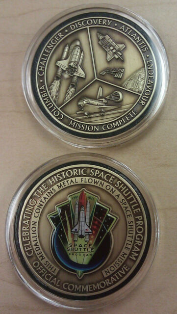 NASA Final Space Shuttle Coin Medallion Contains Flown In Space Metal Ingots