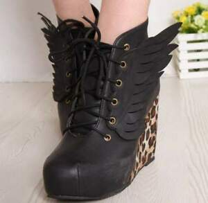 Lace-Up-Wings-Sexy-Wedge-Heels-Platform-Leopard-Round-Toe-Womens-Boots-Shoes-4-8