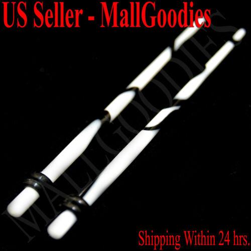 V051 White Marble Stretchers Tapers Expandars 12 10 8 6 4 2 0 00 G Gauges n Kit