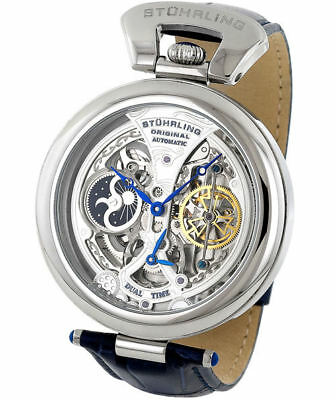 Stuhrling 127A Emperor Grandeur Automatic Open Skeleton Dual Time Mens Watch
