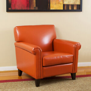 Sleek-Contemporary-Style-Vivid-Orange-Leather-Modern-Club-Chair-Armchair