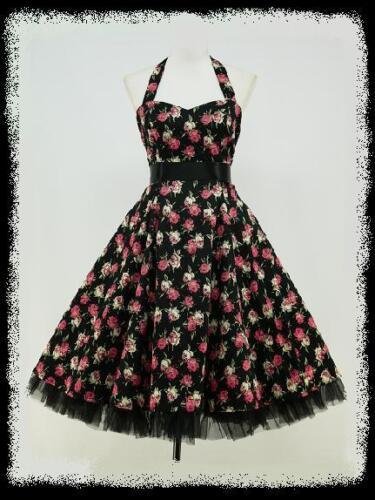 BLACK FLORAL 50s PINUP ROCKABILLY SWING VTG PROM DRESS