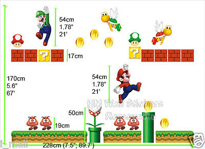 NEW Super Mario Kids Removable Wall Decal-32 Stickers great for kids or nursery