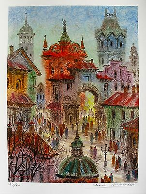 """ANATOLE KRASNYANSKY """"MEMORIES OF PRAGUE"""" Hand Signed Limited Edition Lithograph"""