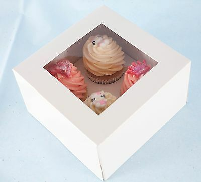 "25 x 4"" DEEP White Cupcake / Muffin Box with Window & Insert - Holds 4 Cupcakes"