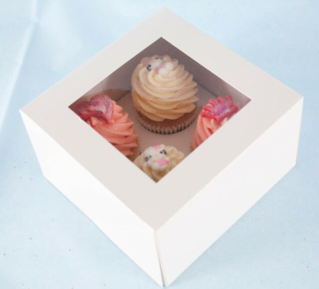 "50 x 4"" DEEP White Cupcake/Muffin Box with Window & Insert - Holds 4 Cupcakes"