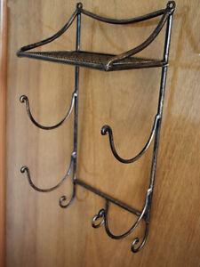 Wrought iron french style bathroom shelf towel holder ebay for Wrought iron bathroom towel bars