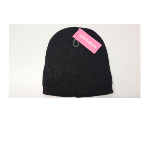 LADIES BEANIE HAT CHUNKY KNITTED WITH SIDE FLOWER