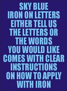 Two Inch Sky Blue Iron Characters Letters or Numbers Vinyl