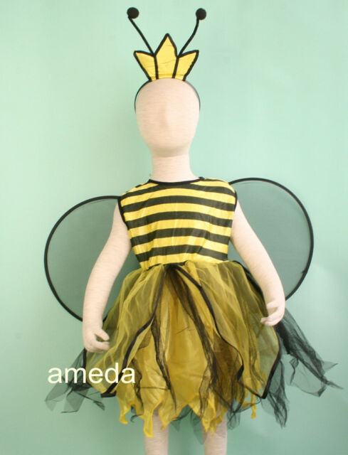 HALLOWEEN GIRLS BEE DRESS UP WINGS CROWN HEADBAND COSTUME BIRTHDAY PARTY 1-6Y