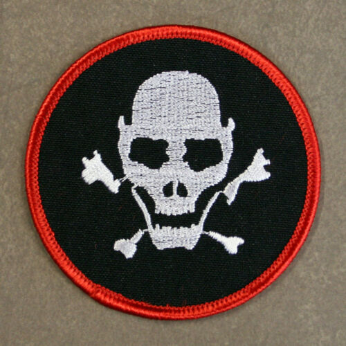 """Embroidered MILITARY SKULL Patch - Skull and Crossbones Sew or Iron On 3"""" diam."""