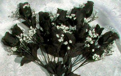 84 Roses ~ BLACK GOTHIC ~  Silk Wedding Flowers Bouquets Centerpieces DIY NEW