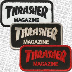 THRASHER-Aufbuegeln-Skateboard-Patch-Block-Logo-Verschiedene-farben