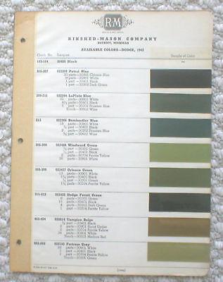 1942 DODGE Color Chip Paint Sample Chart Brochure:R-M