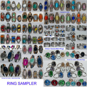 10 RINGS GLASS BEAD STONE PERUVIAN SAMPLER JEWELRY LOT