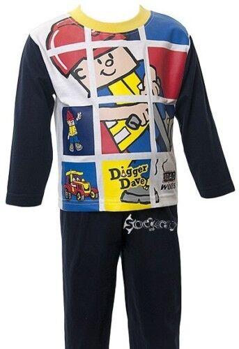 Baby Boys Digger Dave Long Pyjamas Ages 6-23 Months Nightwear