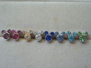 Mickey-Mouse-Swarovski-Crystal-Earrings-Studs-Multi-Col
