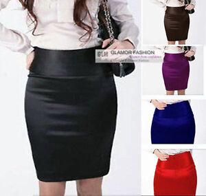 New-Womens-Ladies-Satin-Skirt-Mini-Skirt-XS-3XL-GF0640