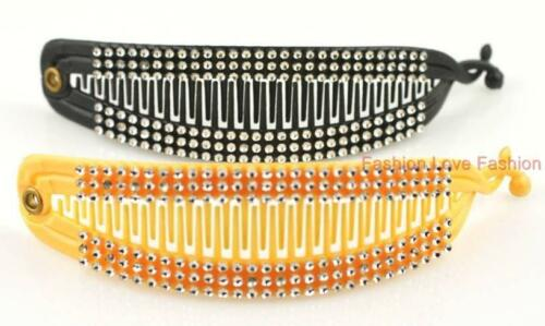 2 PIECES BANANA PONYTAIL HAIR CLIP COMB with or without RHINESTONE