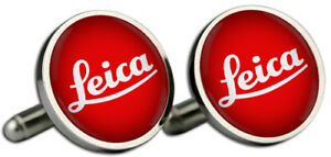 Leica Red Logo Silver Cufflinks and Gift Box