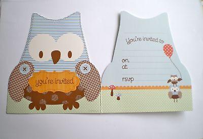 50 OWL  Party Invitations Envelopes BOYS Birthday kids baby