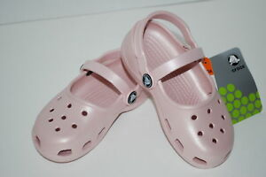 NEW-NWT-CROCS-MARY-JANES-girls-1-2-3-juniors-CANDY-PINK-shoes-sandals-clogs