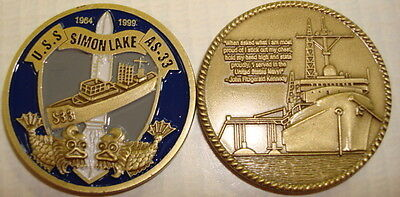 NAVY USS SIMON LAKE AS-33  SUBMARINE MADE IN USA CHALLENGE COIN