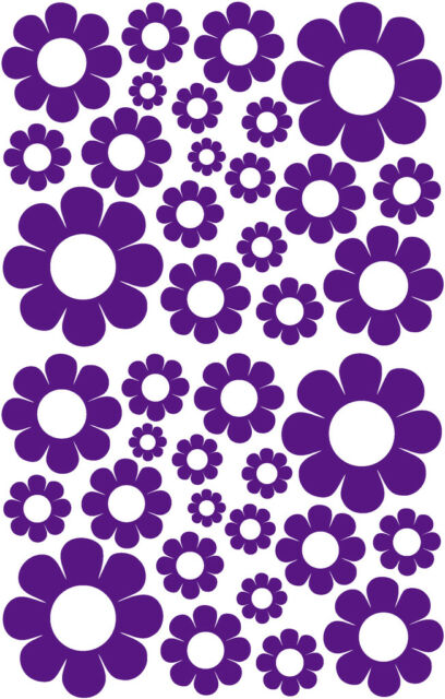 38 DARK PURPLE VINYL DAISY DECALS STICKERS GIRLS BABY DORM ROOM BEDROOM DAISIES