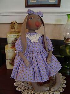 Primitive-Doll-Pattern-Folk-Art-Rabbit-Extreme-Prim-with-6-prim-hang-tags-easter