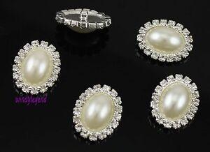 50 X Silver Tone Clear Rhinestone Faux Ivory / Cream Pearl Button Sewing Craft